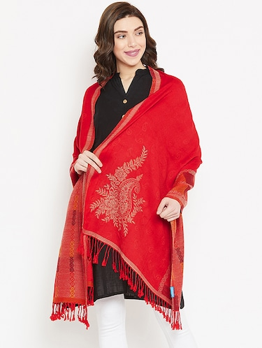 Self-design wool shawl with fringes - 15747984 - Standard Image - 1