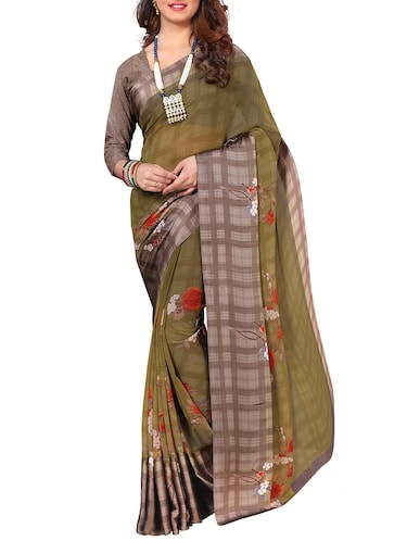 floral printed satin border saree with blouse - 15751343 - Standard Image - 1
