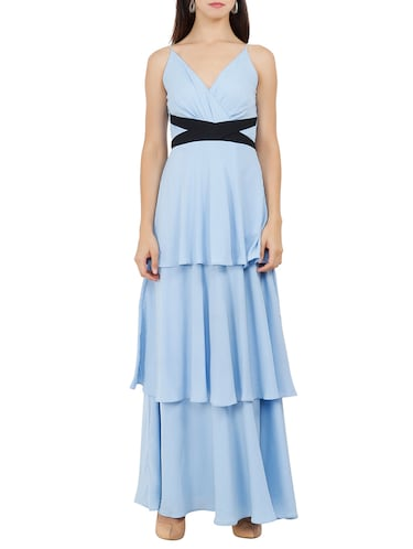 Criss-cross belted layered maxi dress - 15759435 - Standard Image - 1