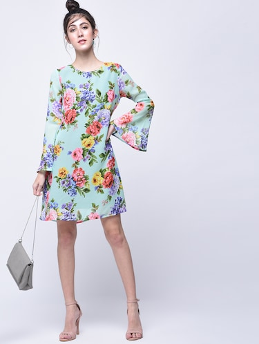 floral bell sleeves a-line dress - 15770576 - Standard Image - 1