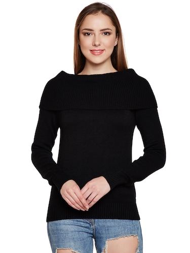 ribbed overlay boat neck pullover - 15773357 - Standard Image - 1