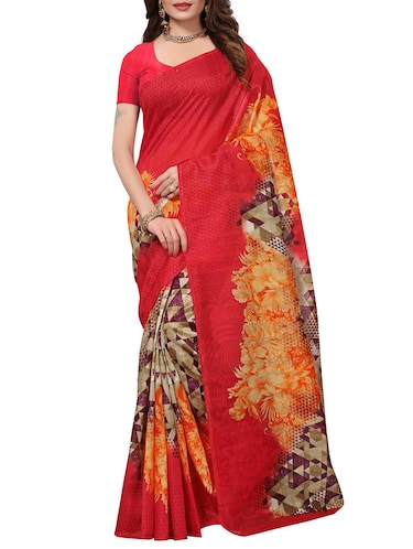 Printed Art Silk saree with blouse - 15780276 - Standard Image - 1