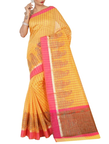 contrast border checkered woven saree with blouse - 15785311 - Standard Image - 1