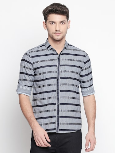 grey striped casual shirt - 15791625 - Standard Image - 1