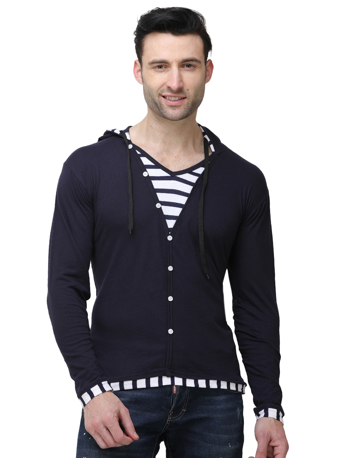 7f228c419 Buy Navy Blue Striped Hooded T-shirt for Men from J2j for ₹435 at ...