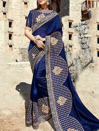 floral resham embroidered saree with blouse - 15798596 - Standard Image - 1