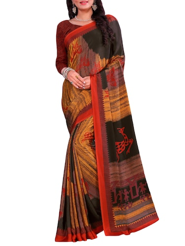 conversational print on print saree with blouse - 15806031 - Standard Image - 1