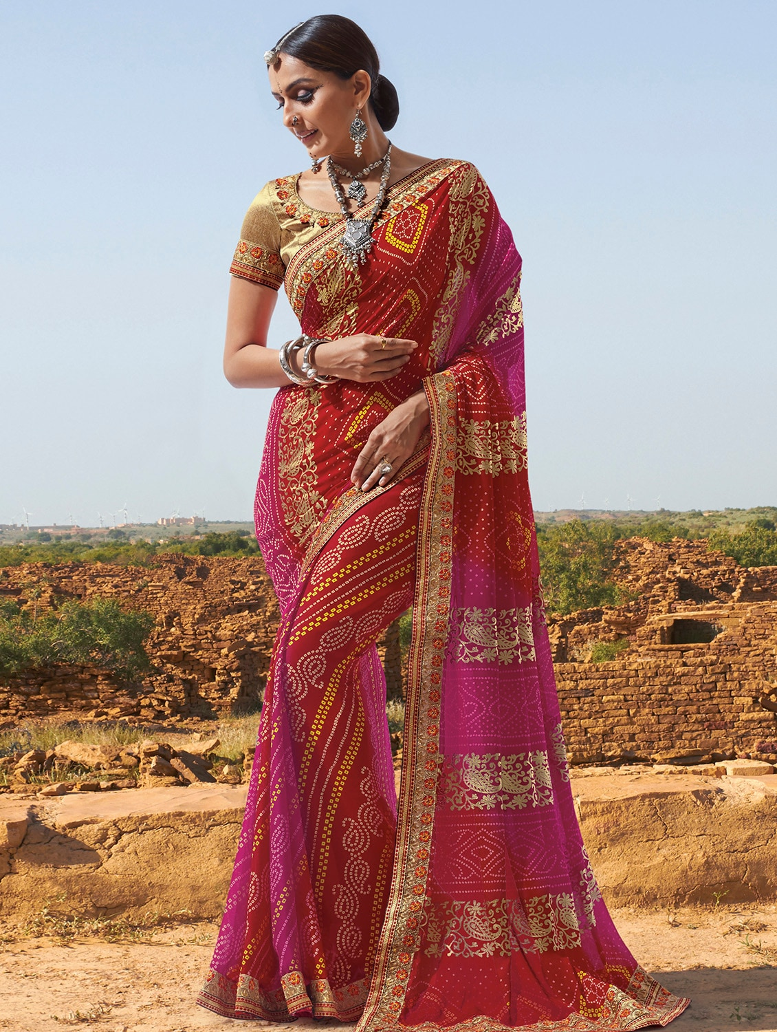 912c7f1c04 ... embroidered lace border bandhani saree with blouse - 15807976 - Zoom  Image - 1