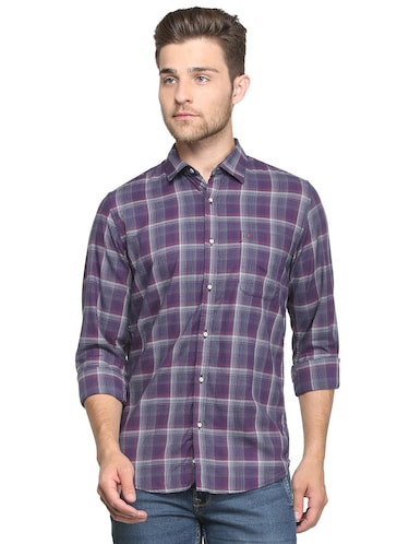 purple checkered casual shirt - 15814428 - Standard Image - 1