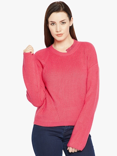 Ribbed stylized neck pullover - 15814974 - Standard Image - 1