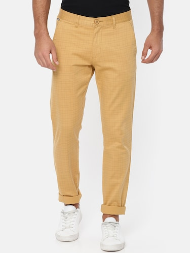 brown cotton chinos casual trousers - 15815358 - Standard Image - 1
