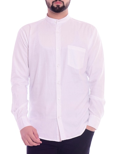 white solid casual shirt - 15815689 - Standard Image - 1
