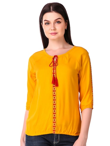Tassel tie neck embroidered top - 15816376 - Standard Image - 1