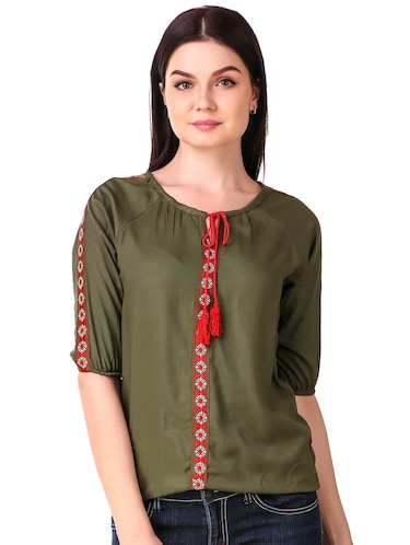 Tassel tie neck embroidered top - 15816380 - Standard Image - 1
