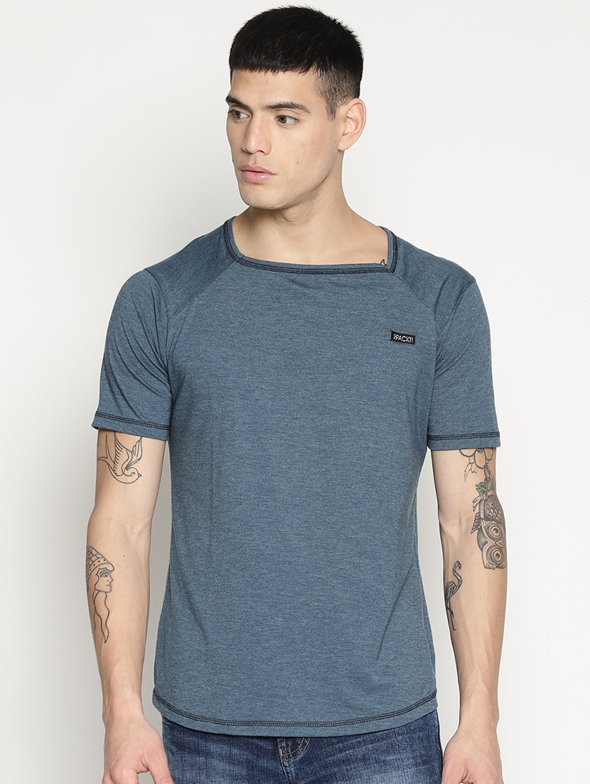Solid Blue Square Neck T-Shirt thumbnail