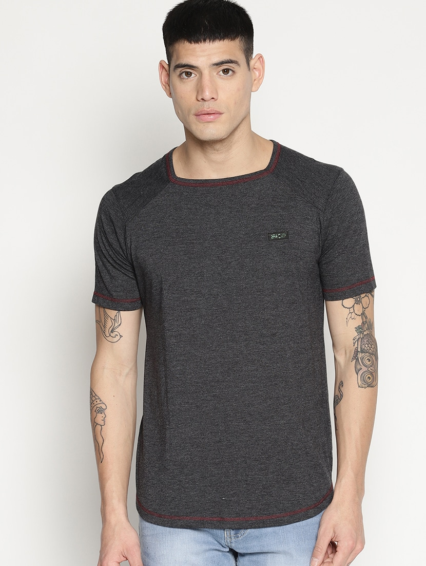 Solid Black Square Neck T-Shirt thumbnail