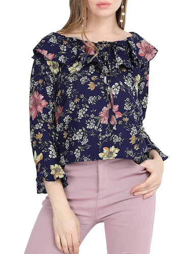 tie-up ruffle detail floral top - 15818757 - Standard Image - 1