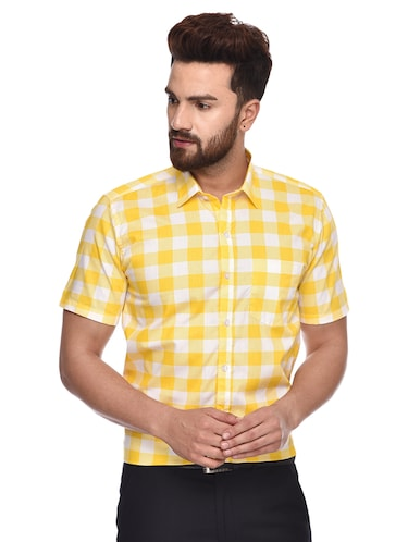 yellow checkered  casual shirt - 15829394 - Standard Image - 1