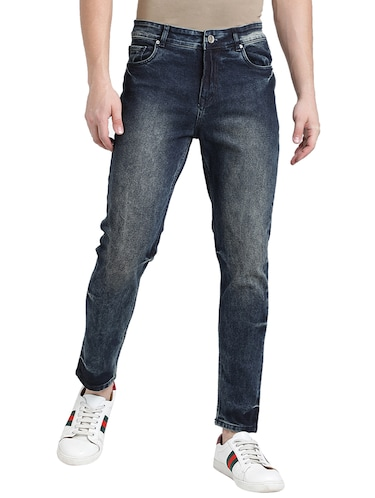 blue cotton blend washed jeans - 15843153 - Standard Image - 1