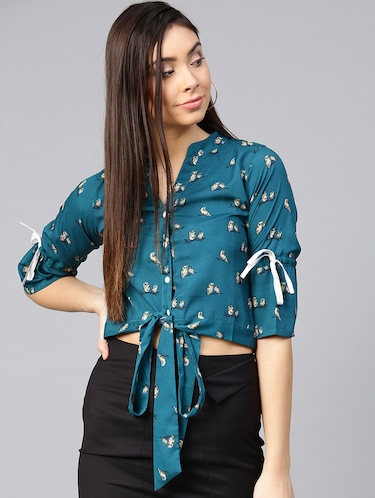 tie knot hem button up top - 15857204 - Standard Image - 1