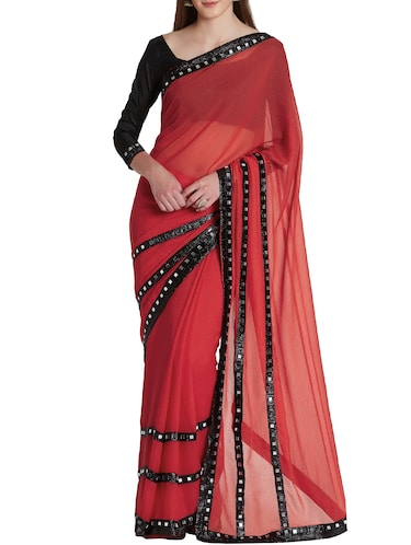 mirror work bordered saree with blouse - 15860788 - Standard Image - 1