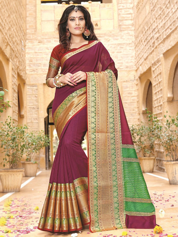 25789bc0f3 ... zari border purple banarasi saree with blouse - 15867257 - Zoom Image -  1