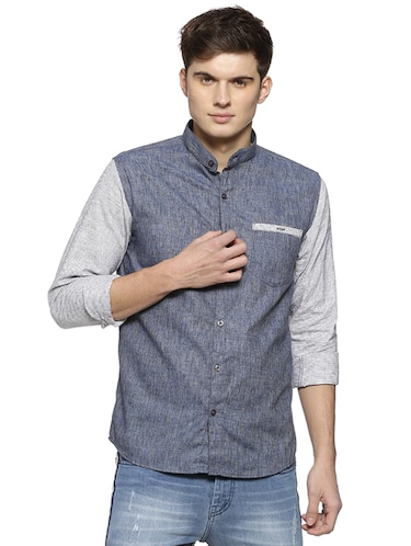 blue cotton casual shirt - 15876866 - Standard Image - 1