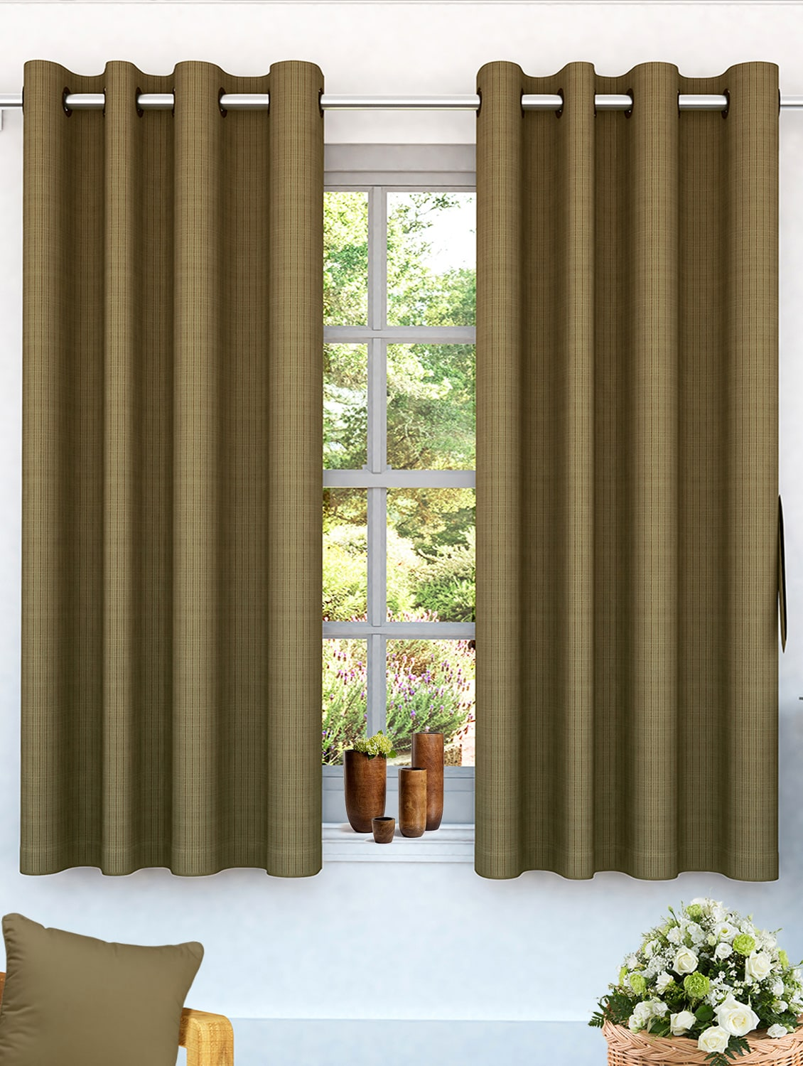 Buy Story Home Brown Solid 2 Pc Window Curtains By Story Home