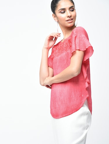 embroidered yoke lace insert top - 15882552 - Standard Image - 1