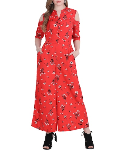 c05f8e0d274 Buy Cold Shoulder Floral Jumpsuit for Women from Coral Belle for ₹798 at  53% off