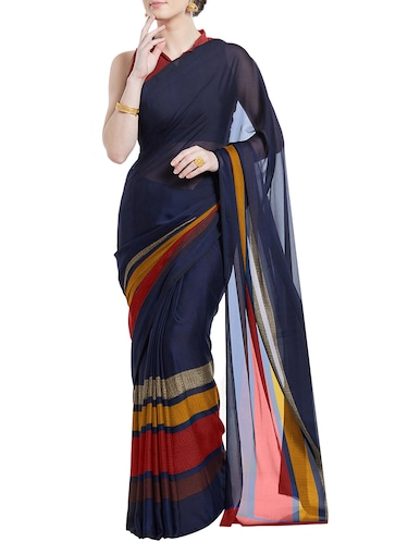 striped printed saree with blouse - 15899912 - Standard Image - 1