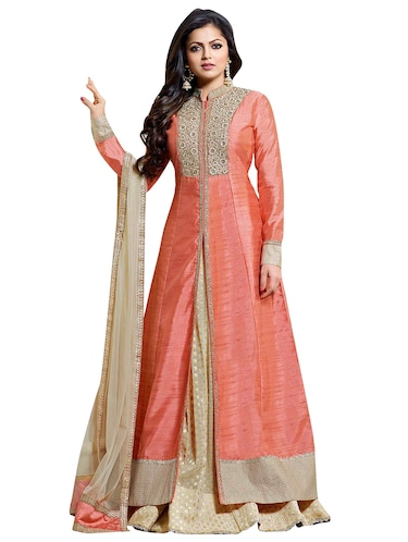 Embroidered semi-stitched skirt suit - 15900101 - Standard Image - 1
