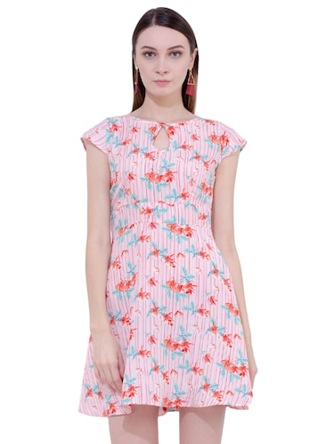 Floral key hole front flared dress - 15902028 - Standard Image - 1