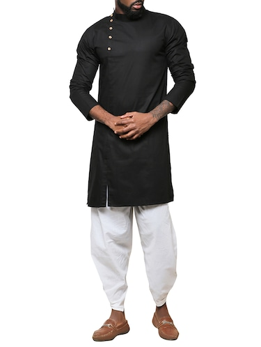 black cotton long kurta - 15911574 - Standard Image - 1