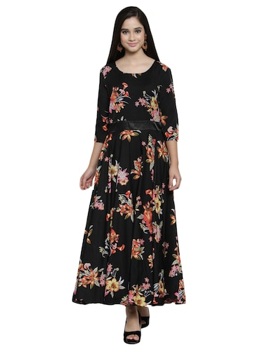 contrast flared maxi dress - 15914235 - Standard Image - 1
