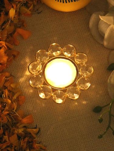 Buy Home Sparkle Flower Shaped Crystal Tea Light Candle Holder Stand