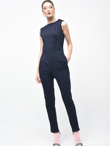 Boat neck button detail jumpsuit - 15930136 - Standard Image - 1