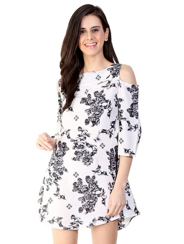 cold shoulder floral a-line dress - 15930807 - Standard Image - 1