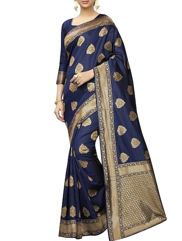 floral zari motifs navy woven saree with blouse - 15939957 - Standard Image - 1