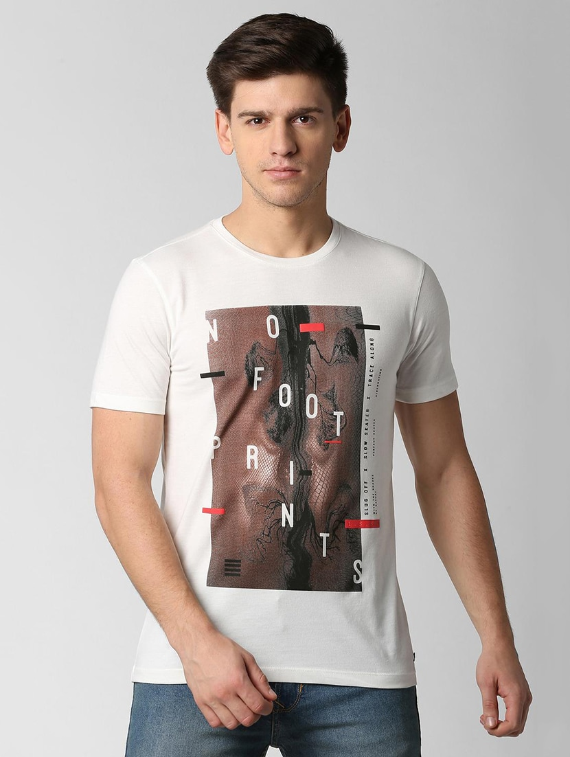 dc7988439c3 Buy White Printed T-shirt by Peter England - Online shopping for T ...