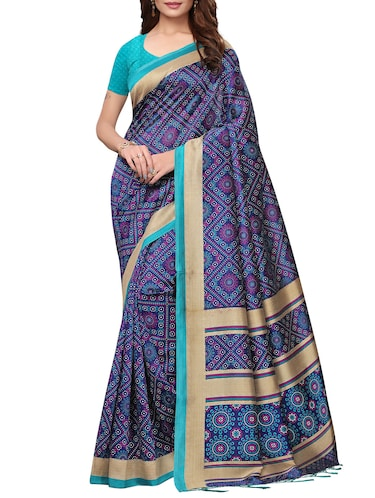 floral printed saree with blouse - 15954310 - Standard Image - 1