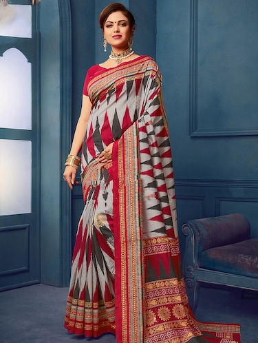 geometric printed saree with blouse - 15954576 - Standard Image - 1