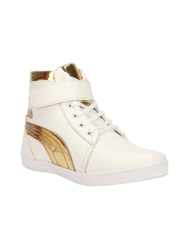 white leatherette lace up sneakers - 15958550 - Standard Image - 1
