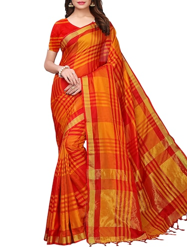 checkered woven saree with blouse - 15958932 - Standard Image - 1