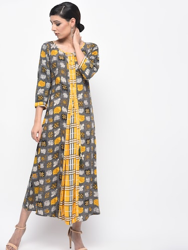 A-line printed dress - 15961867 - Standard Image - 1