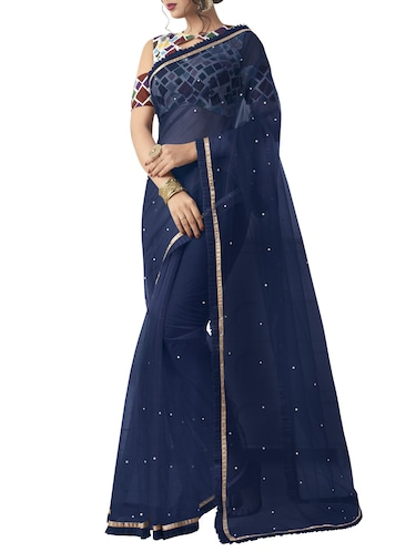 f1c45b25775 Buy Pearl Embellished Navy Blue Saree With Blouse for Women from ...