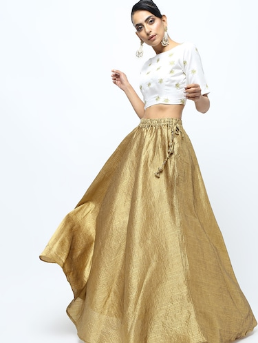 Solid brocade flared skirt - 15969158 - Standard Image - 1
