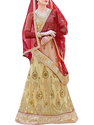 Embroidered a-line lehenga with contrast dupatta - 15969214 - Standard Image - 1