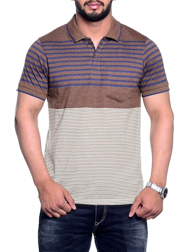 brown striped pocket tshirt - 15972717 - Standard Image - 1