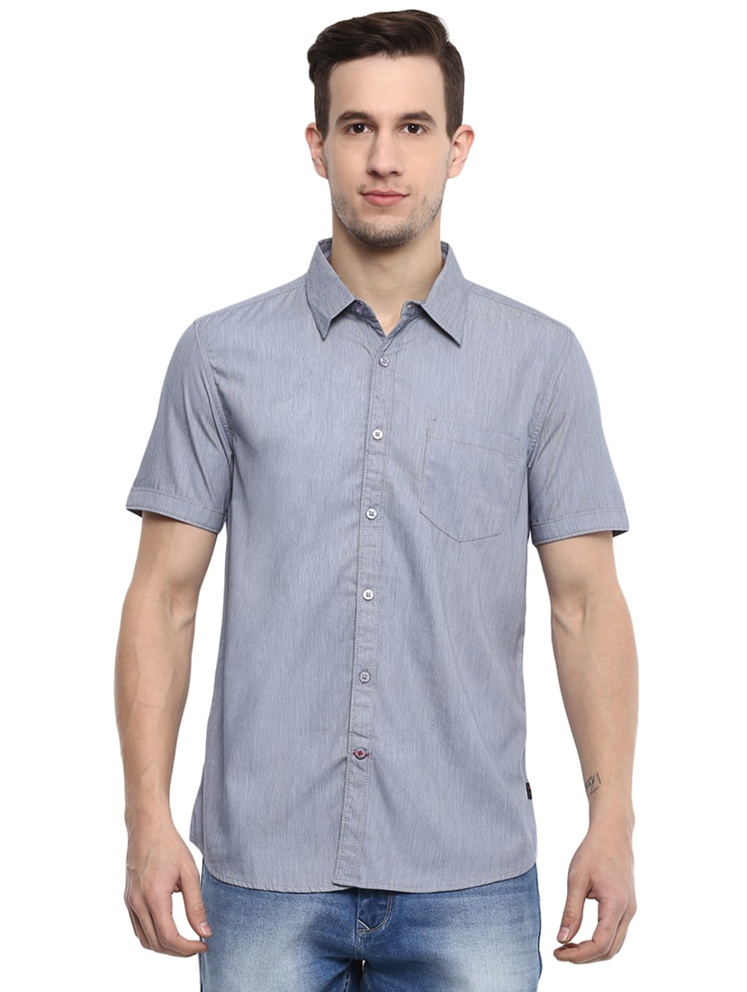 1b7ee1330c Buy Grey Solid Casual Shirt by Red Chief - Online shopping for ...